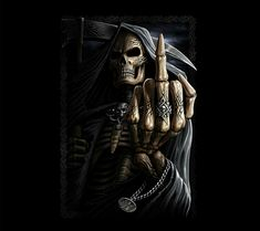 Skeleton Middle Finger Up