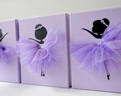 Set of three handmade canvases with Dancing Ballerinas in pink tutus. Each canvas is 8 X 10. The background and ballerinas are painted with acrylic