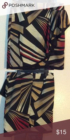 Skirt Colored, zip up back, with side ruffle, short skirt Worthington Skirts Pencil