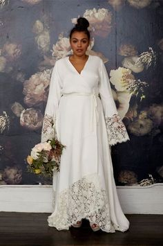 Curvy Girls, Listen Up: We've Found Your Dream Wedding Dress #refinery29  http://www.refinery29.com/plus-size-wedding-dress#slide-2  When a wrap dress meets a kimono meets a wedding gown, the results are kind of magic.Eloquii for Stone Fox Bride The Glenda Gown, $6,800, available at Stone Fox Bride....