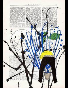 POLLOCK MANIA original ARTWORK mixed media by artretro on Etsy, $17.00
