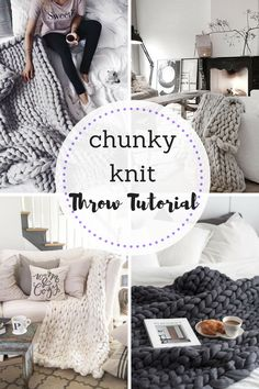 Chunky, Chunky Knit Throw Tutorials, Home Decor, DIY Home Decor, Crafts for Teens, Yarn Projects, DIY Couch Throws, DIY Home, Yarn Crafts, Easy Crafts, Crafts, Popular Pin