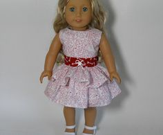 18 inch doll clothes White Heart Valentine Dress by thesewingshed