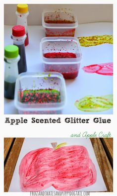 Apple Scented Glitter Glue and Apple CraftNew Twist To Painting With Apples30  Apple Crafts, Activities, and More The Kids Love
