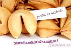 Kolačić sudbine sa porukom RECEPT Inspire Me, Banana, Fruit, Sweet, Food, Sayings, Friends, Quotes, Ideas