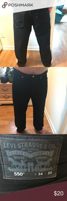 NWOT Levi's 550 Relaxed Fit Jeans Never worn black men's Levi's size 34W x 30L. Pristine condition jeans are still super crisp! Model is 5'11 Levi's Jeans Relaxed