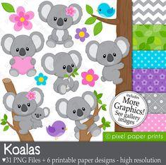 Koala clipart - Koala Bear Clip art and Digital paper set