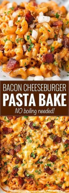 No-Boil One Pan Bacon Cheeseburger Pasta Bake | This weeknight dinner recipe is a tasty twist on an American classic, the bacon cheeseburger. One pan, no pre-cooking the beef, and no boiling the pasta... it all bakes together into the best bacon cheeseburger pasta bake or casserole ever!! | Posted By: DebbieNet.com