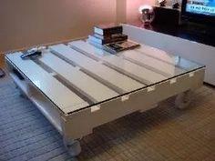 mesa centro palete 1,20 x 1,00 x 0,19 cm-branco sem vidro