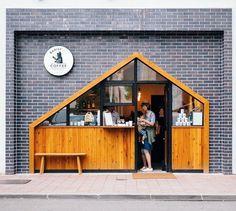 New design cafe exterior coffee shop ideas Cafe Shop Design, Kiosk Design, Cafe Interior Design, Shop Front Design, Facade Design, Retail Design, House Design, Cafe Exterior, Exterior Signage