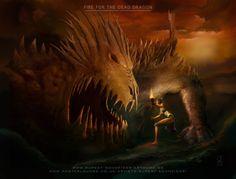 """FIRE FOR THE DEAD DRAGON"",  by Rupert Schneider, the-q-artwork, Origin size up to 140x100 cm. www.facebook.com/theqartwork/   - Concept Art, Digital Art, Klassische Malerei, Fantasy, Surrealismus, surrealism, Dragon, Drachen, Heldin, Fire, Feuer, Heroine"