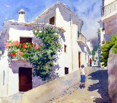 Calle de Capileira, acuarela de Francisco herrera
