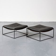 "design-related: ""Iron stool with leather seat by Jorge Zalszupin for L'Atelier."