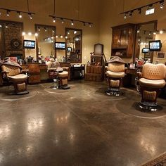 Fresh Cuts Hair Studio is a Barber Shop where we have Men's Hair Salon who will provide you with good Services at Vaughan Upscale Barber Shop, Barber Shop Interior, Barber Shop Decor, The Gents Place, Bar Vintage, Barbershop Design, Barbershop Ideas, Home Hair Salons, Hair Shop