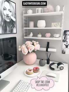 Shop the Look, Clean Office - office organization at work cubicle Home Office Design, Home Office Decor, Home Decor, Office Designs, Office Organization At Work, Office Ideas, Cubicle Organization, Organization Ideas, Work Cubicle