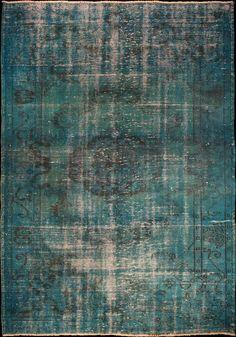 Tapis Decolorized Blue en 100% laine Teintes froides, Bleu  kilimdéco 400-/m2