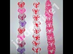 Rainbow Loom VERTICAL HEART Bracelet. Designed and loomed by jordantine1 on one or two Rainbow Looms. Click on photo for YouTube tutorial.