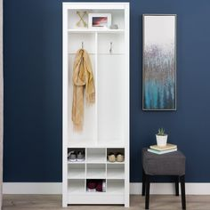 Customize your entryway, hallway or work space with this versatile organizer. Fit one organizer in a narrow apartment hallway or combine multiple pieces in a large foyer to create a custom look at a fraction of the cost. This Space Tree features two double coat hooks and one large upper shelf, which provides an ideal place to store jackets, hats, gloves, mail, car keys and any other entryway clutter.