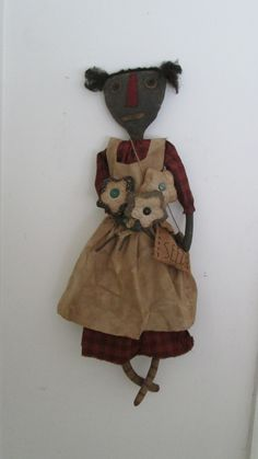 Primitive Black Doll with Flowers by Bettesbabies on Etsy, $58.00