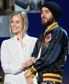 A good looking pair: Margot Robbie was joined by Suicide Squad co-star Jared Leto, with wh...