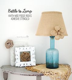how to turn a bottle into a lamp - so cute! #plaidcrafts #diy #crafts #modpodgerocks #modpodge click thru for the full tutorial