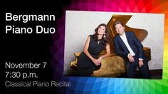 """The Bergmann Piano Duo's recitals are """"razzle-dazzle"""", """"electrifyingly rendered"""" performances like you've never experienced before. Elizabeth and Marcel Bergmann have been inspiring audiences with their uniquely eclectic programmes for more than two decades. Always adventurous, they combine virtuosic dedication with the instincts of professional entertainers who love their music. See them perform on matching grand pianos at Horizon Stage on Nov 7/14. Tickets: $35/$30 www.bergmannduo.com Grand Pianos, Piano Recital, Two Decades, Razzle Dazzle, Marcel, Stage, Entertaining, Seasons, Adventure"""
