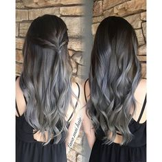 Pin by amy sanders parker on hair hair, dyed hair, hair color balayage. Hair Color Highlights, Hair Color Balayage, Blonde Color, Balayage Highlights, Grey Blonde, Gray Balayage, Gray Color, Hair Streaks, Blonde Hair