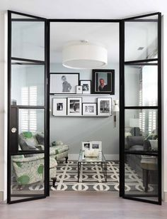 Lovely interior Crittal doors on this London mews house Living Room Designs, Living Room Decor, Living Spaces, Small Living, Crittal Doors, Crittall Windows, Partition Door, Room Divider Doors, Partition Design