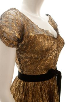 Gold painted lace dress