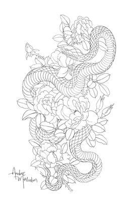New Tattoo Snake Oriental Art Ideas Neue Tattoo Snake Oriental Art Ideen This image has get Japanese Snake Tattoo, Japanese Sleeve Tattoos, Snake Drawing, Snake Art, Snake Sketch, Diy Tattoo, Asian Tattoos, Leg Tattoos, Tattoo Snake