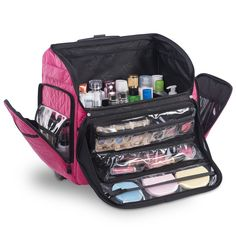 KIOTA Makeup Artist Case on Wheels, Soft Cosmetic Case with Trolley and Removable Storage Pockets for Beauty Products, Side Compartments with Zippers, Bubblegum >>> Want additional info? Click on the image. (This is an affiliate link) #Travelaccessories