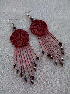 Macrame spiral earrings, boho chic earrings, beaded earrings, fashion earrings