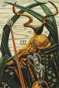 Earthy Capricorn - Zodiac Animal = Goat 10th position Zodiac parade Queen of Disks -Thoth Tarot