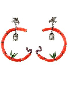 Wendy Yu Coral Birdcage Earring