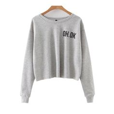 SheIn(sheinside) Grey Letter Print Crop Sweatshirt ($22) ❤ liked on Polyvore featuring tops, hoodies, sweatshirts, grey, grey crop top, cropped sweatshirt, grey sweatshirt, gray crop top and gray top
