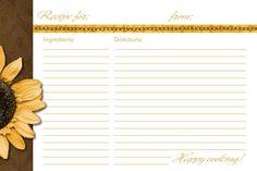 4X6 Recipe Card Template | Sunflower Recipe Card