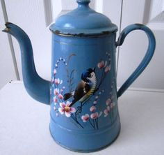 Antique Vintage French Enamelware Coffee Pot CA 1920 with HP Bird Enameling | eBay