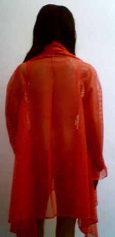 Orange Fish net wrap over jacket