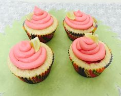 Lemon cupcakes with raspberry frosting! Yumm!