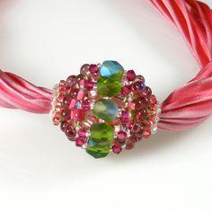 Beaded bead on shibori ribbon