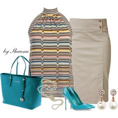 Michael Kors tote and pencil skirt by shauna-rogers on Polyvore