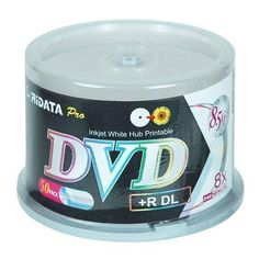 Ridata 8.5 GB 8 X Inkjet Printable Double Layer DVD+R 50-Pack (DRD+858-RDIWN-CB50) by Ridata. $39.99. Using RITEK's high quality & reliable organic dye for the recording material, RiDATA DVD+R DL holds up to 8.5GB of data almost double the storage capacity of conventional DVD+R disc. The two layers allow the disc to be read or recorded on one side without turning over the disc. DL media is ideal for large capacity video recording, MP3 audio archiving, data/file...