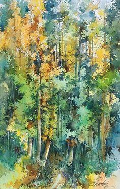 Watercolor Landscape Paintings, Watercolor Canvas, Watercolor Trees, Nature View, Nature Water, Unique Paintings, Indian Artist, Urban Sketchers, Tree Art