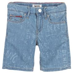 Boys blue shorts by Hackett. Made in a fine cotton twill, they have two pockets on the front, two on the back and are fastened with a zip and single button. The inside of the waistband is trimmed with a tiny paisley patterned fabric, and can be adjusted to fit on smaller sizes. The shorts are embroidered with the designer's logo on the front. A woven label is attached at the back.