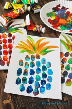 DIY Pineapple Thumbprint Art