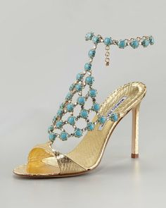 Manolo Blahnik Gold 'Neisme' Beaded Snakeskin Sandal $1,995 2013 #Manolos #Shoes #Heels