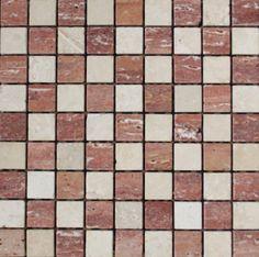 Mozaika marmurowa -  Kolekcja: Tetra 30; Kod: T3010; Wykończenie: ANTICO; Materiał: Travertino Red, Travertino Navona; Wym. Kostki: 3,0x3,0 cm; Wym. Plastra:  28,9x28,9 cm