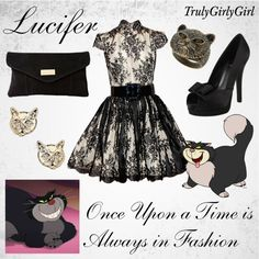Lucifer outfit - by trulygirlygirl Disney Themed Outfits, Disney Bound Outfits, Disney Dresses, Disney Clothes, Prom Dresses, Disney Princess Fashion, Disney Inspired Fashion, Disney Style, Disney Fashion
