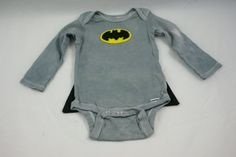 Batman Superhero Baby Long Sleeve Onesie Bodysuit with Cape.
