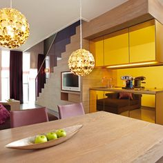 Yellow glass kitchen